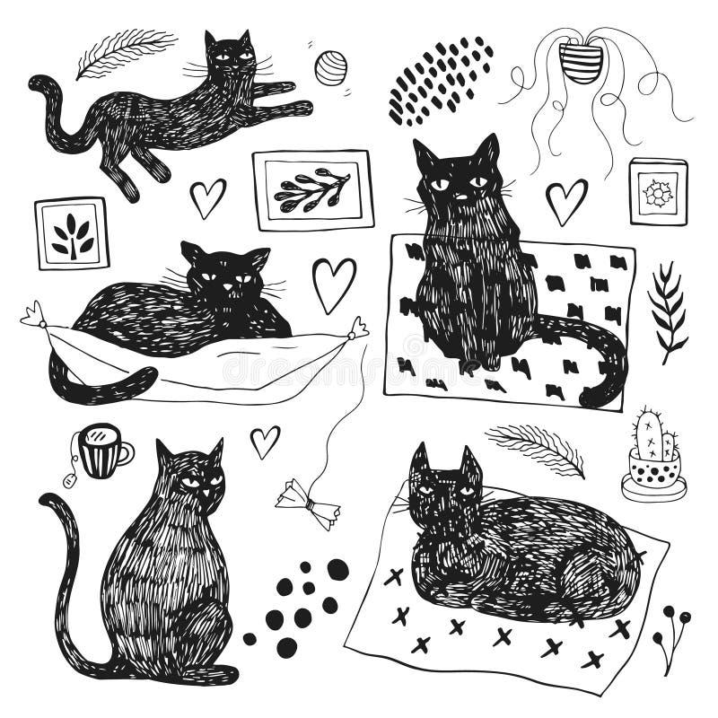 Ilustrações tiradas mão do vetor dos caráteres do gato ajustados Estilo do esbo?o ilustração stock
