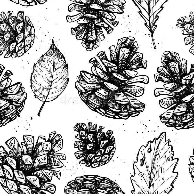 Ilustrações tiradas mão do vetor Teste padrão sem emenda com com os cones do pinho ilustração royalty free