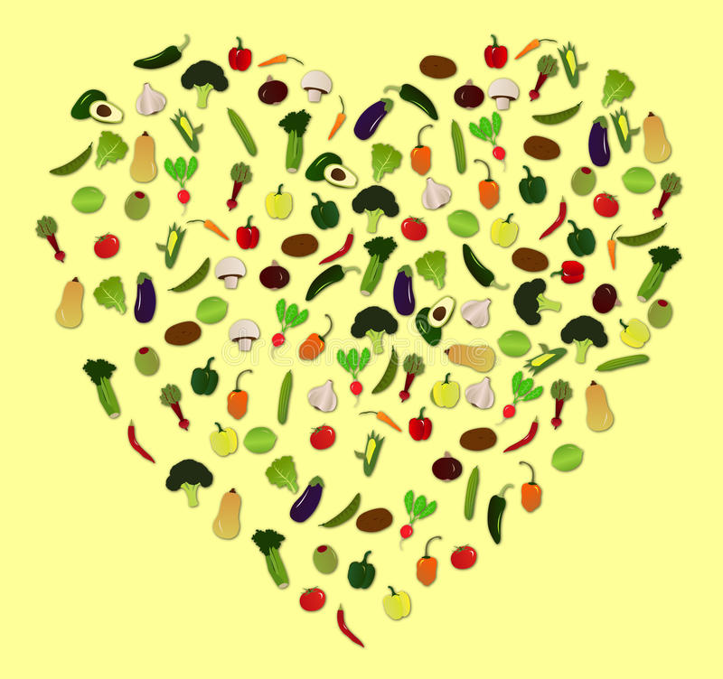 Ilustrações vegetais do vetor do ícone do coração foto de stock