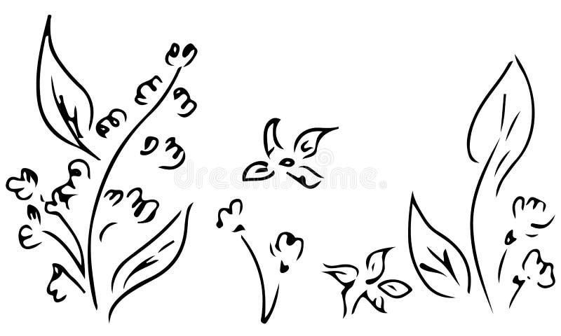 Ilustra??es tiradas m?o da flor abstrata da pe?nia isolada no branco Esbo?o tirado m?o de uma flor Linha arte ilustração stock