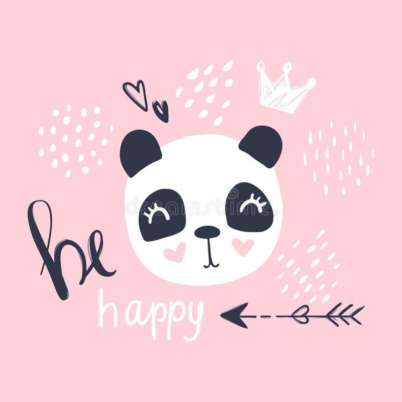Ilustra??o bonito do vetor da panda Animal dos desenhos animados Car?ter engra?ado ilustração royalty free