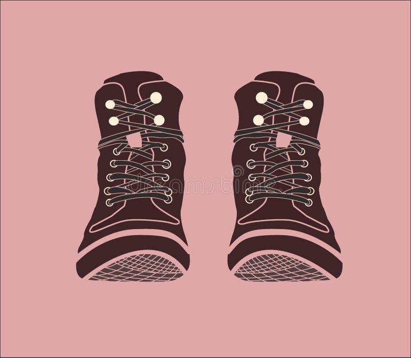 Ilustra??o Botas de Brown Sapatas em um fundo cor-de-rosa ilustração stock