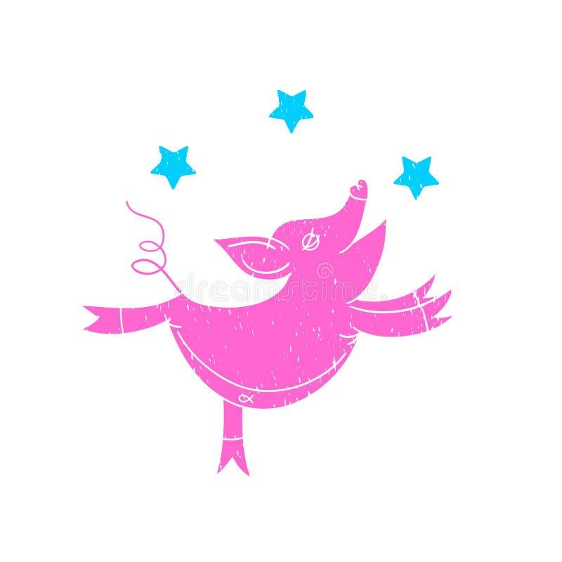 Ilustra??o cor-de-rosa do porco A ilustra??o das crian?as do car?ter Ilustra??o no fundo branco, logotipo, projeto do t-shirt ilustração stock