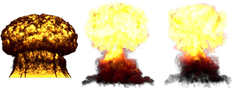 ilustra??o 3D da explos?o - explos?o diferente muito altamente detalhada grande do cogumelo at?mico de 3 fases da bomba de fus?o  imagem de stock royalty free
