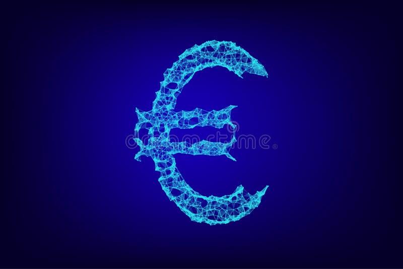 Ilustra??o 3d digital do wireframe do sinal de moeda do Euro Baixo negócio poli, dinheiro dos dados, e conceito da finança com li ilustração do vetor