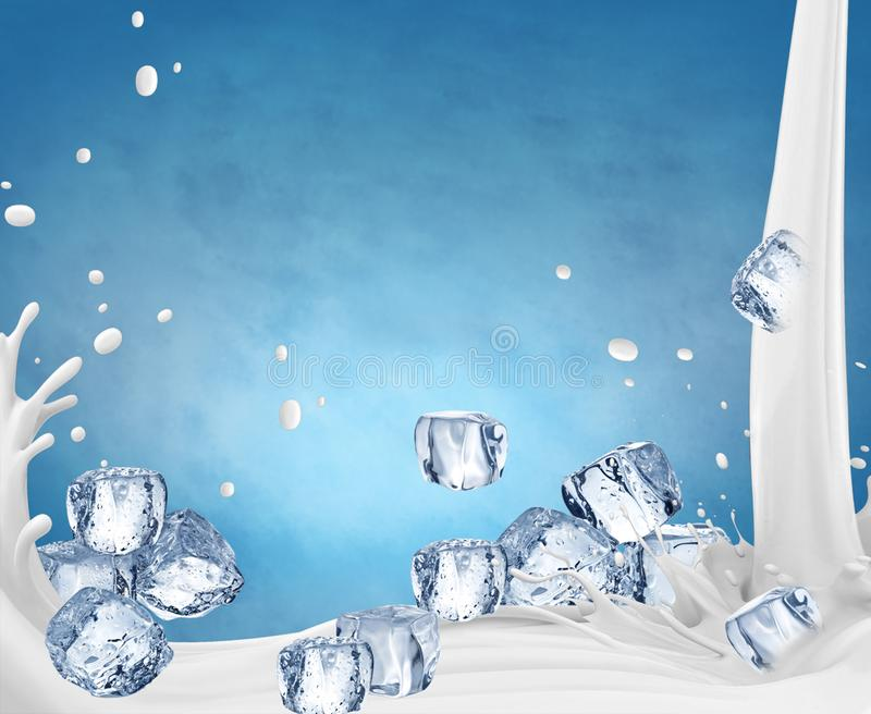 ilustra??o 3D A ilustração do respingo do leite, leite realístico espirra ilustração royalty free