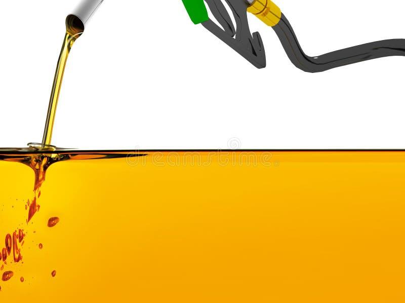 a ilustra??o 3D, prov? de bocal a gasolina de bombeamento em um tanque, da gasolina de derramamento do bocal de combust?vel sobre ilustração do vetor