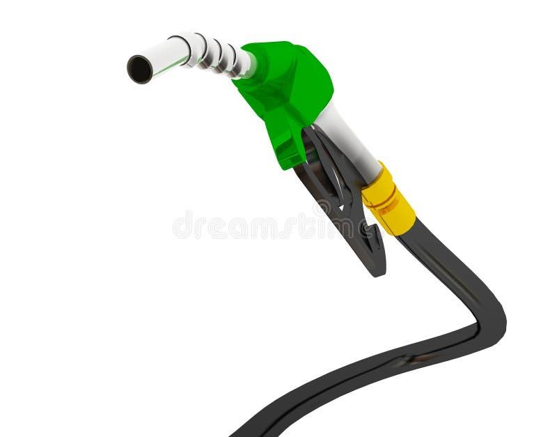 a ilustra??o 3D, prov? de bocal a gasolina de bombeamento em um tanque, da gasolina de derramamento do bocal de combust?vel sobre ilustração royalty free