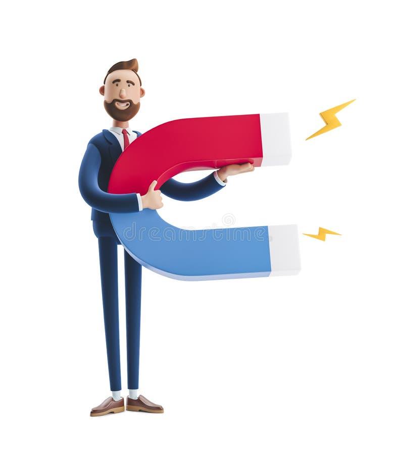 ilustra??o 3D Retrato de um homem de negócios considerável com ímã imagens de stock royalty free