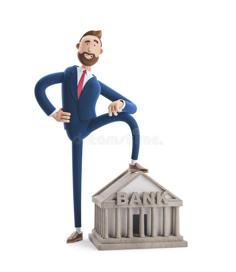 ilustra??o 3D Retrato de um homem de negócios considerável com construção de banco Conceito da opera??o banc?ria fotos de stock