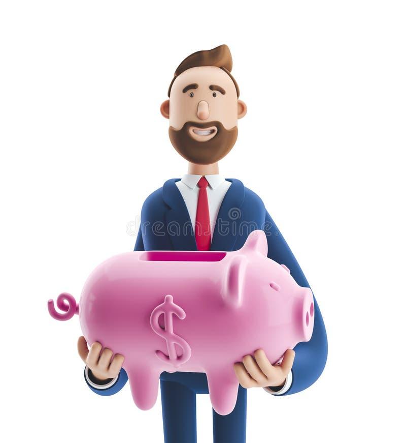ilustra??o 3D Retrato de um homem de negócios considerável com mealheiro Conceito seguro do armazenamento do dinheiro foto de stock royalty free