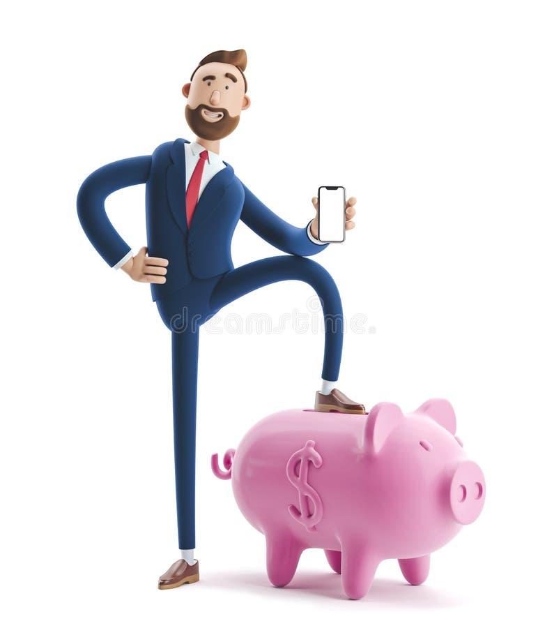 ilustra??o 3D Retrato de um homem de negócios considerável com mealheiro Conceito seguro do armazenamento do dinheiro ilustração do vetor