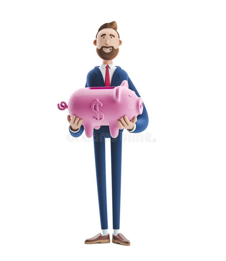 ilustra??o 3D Retrato de um homem de negócios considerável com mealheiro Conceito seguro do armazenamento do dinheiro fotos de stock royalty free