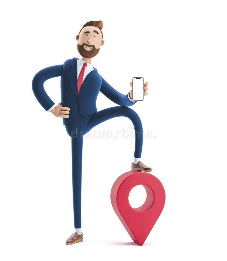 ilustra??o 3D Retrato de um homem de negócios considerável com telefone e pino conceito dos gps imagem de stock royalty free
