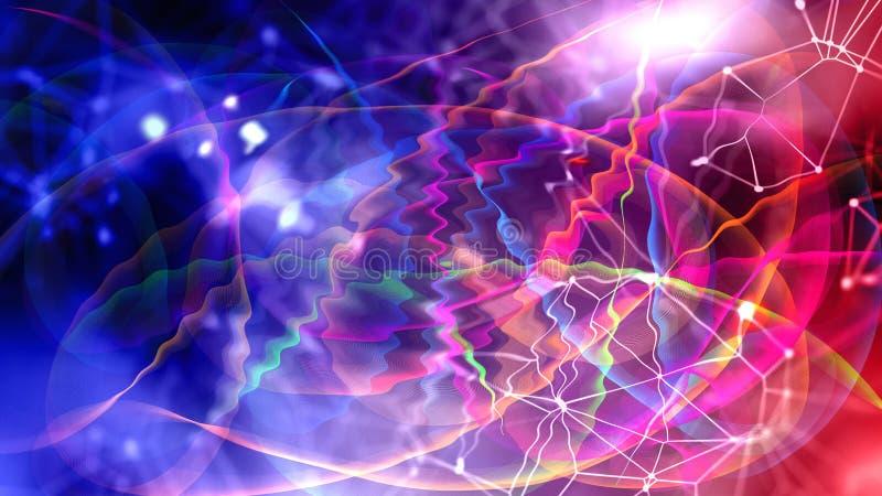 ilustra??o 3D surreal Geometria sagrado Teste padr?o psicad?lico misterioso do abrandamento Textura abstrata do Fractal Arte fina ilustração do vetor