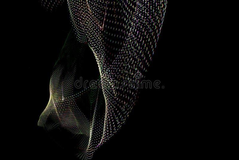 ilustra??o 3D Testes padr?es tridimensionais abstratos formados por linhas A fotografia fez com pintura clara no fundo preto ilustração stock