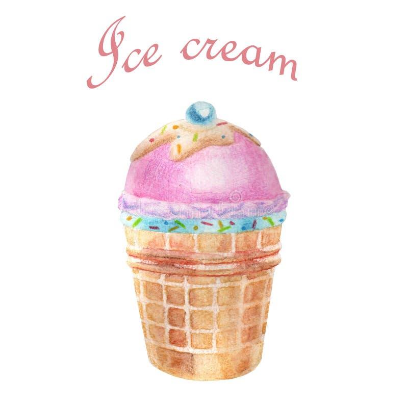 Ilustra??o da aguarela Um gelado delicioso ilustração royalty free