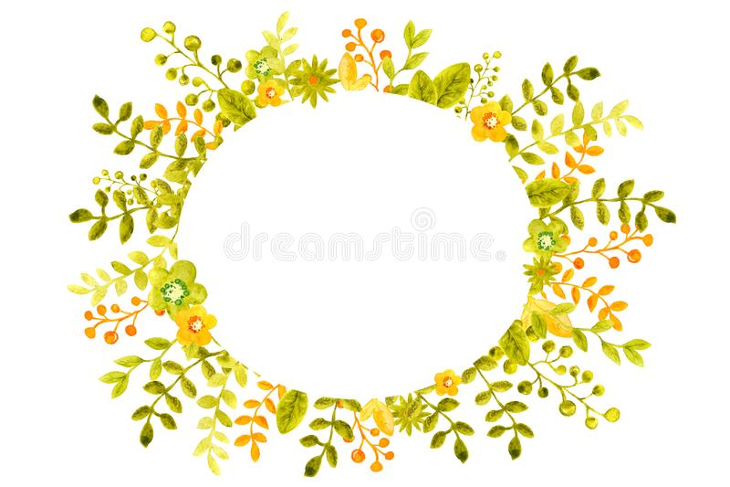 Ilustra??o da aquarela com os quadros da imagem das flores, os galhos e as folhas, o verde e laranja, para o projeto das bandeira ilustração do vetor