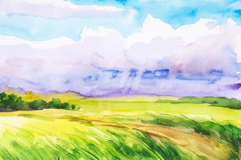 Ilustra??o da aquarela de um campo do russo com uma floresta no fundo ilustração do vetor