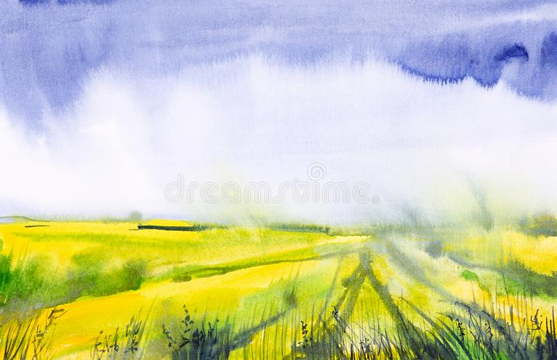 Ilustra??o da aquarela de um campo do russo com uma floresta no fundo ilustração royalty free