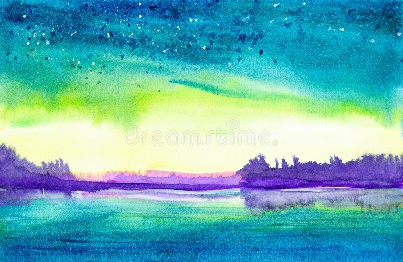 Ilustra??o da aquarela de uma paisagem bonita da floresta do ver?o pelo lago ilustração do vetor