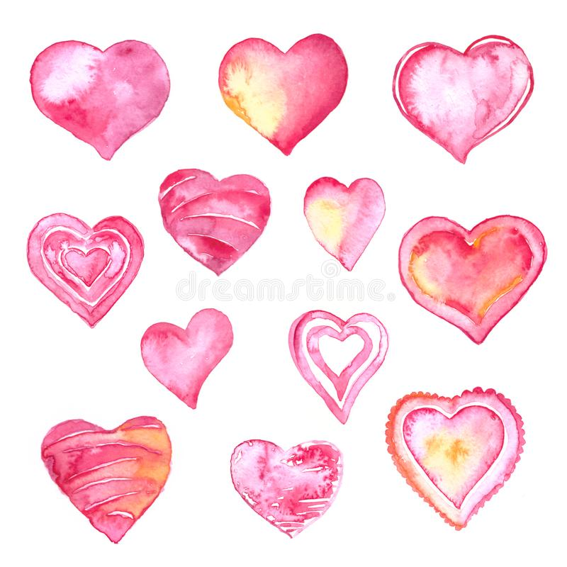 Ilustra??o da aquarela do dia de Valentim Grupo tirado e pintado da mão da aquarela dos corações ilustração stock
