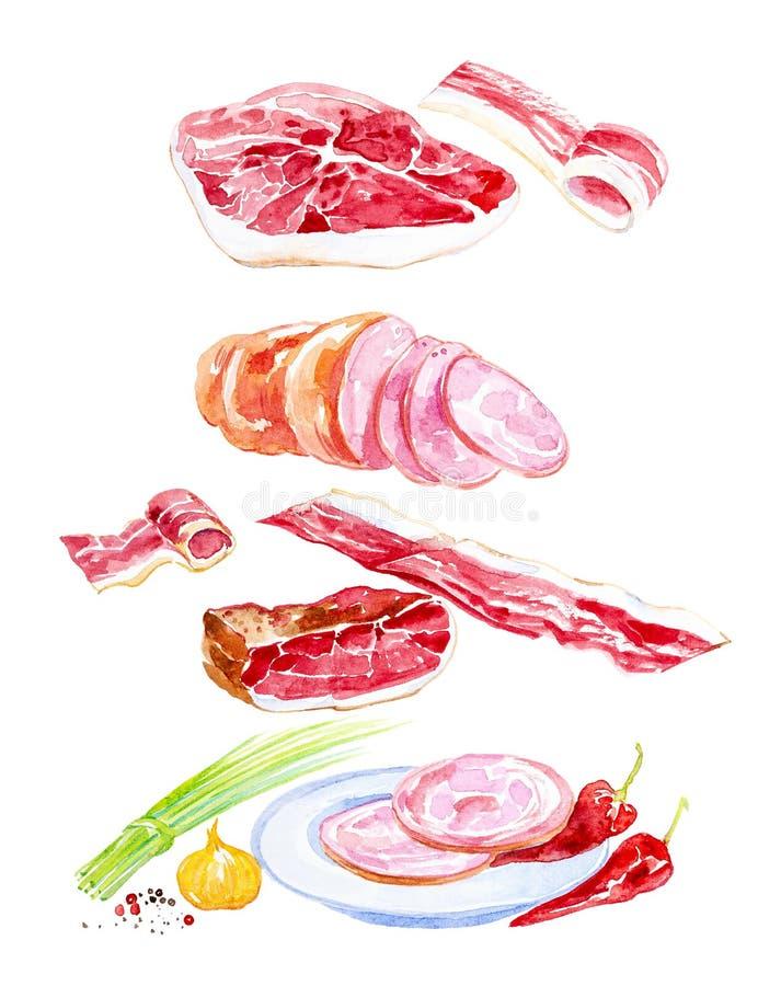 Ilustra??o da aquarela do grupo cozinhado da carne Cebolas verdes, alho, presunto, salsicha, presunto, pimenta de pimentão, carne ilustração stock