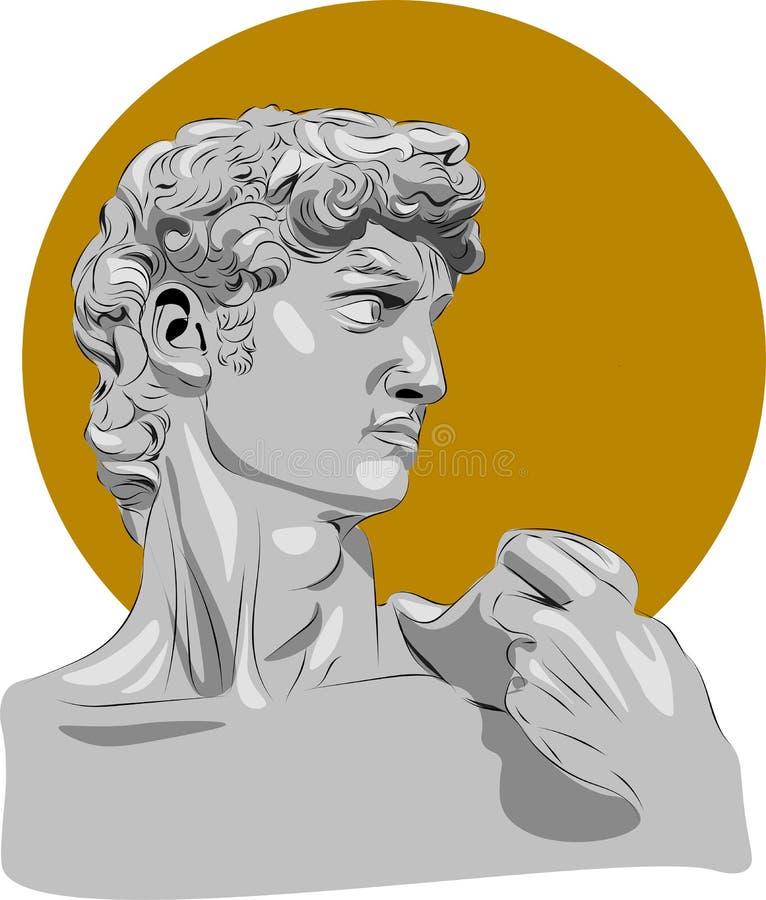 Ilustra??o da escultura David Michelangelo Aperfei?oe para a decora??o tal como cartazes, arte da casa da parede, sacola, c?pia d ilustração stock