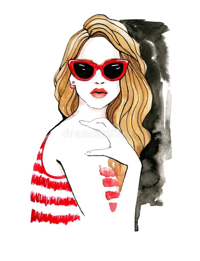 Ilustra??o da forma da aquarela Ilustra??o da forma da aquarela Mulher à moda em vidros vermelhos Modo do ver?o ilustração royalty free