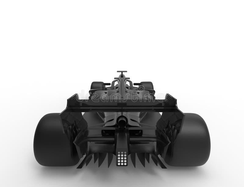 ilustra??o da rendi??o 3D de um tudo carro desportivo preto da ra?a da f?rmula ilustração do vetor