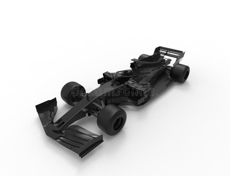 ilustra??o da rendi??o 3D de um tudo carro desportivo preto da ra?a da f?rmula ilustração royalty free