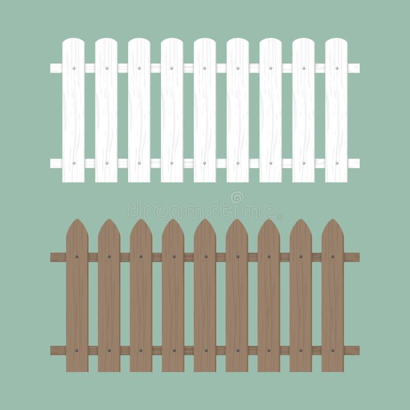 Ilustra??o de madeira da cerca Jarda de madeira da parede da exploração agrícola, jardim dos desenhos animados Teste padrão do fu ilustração stock