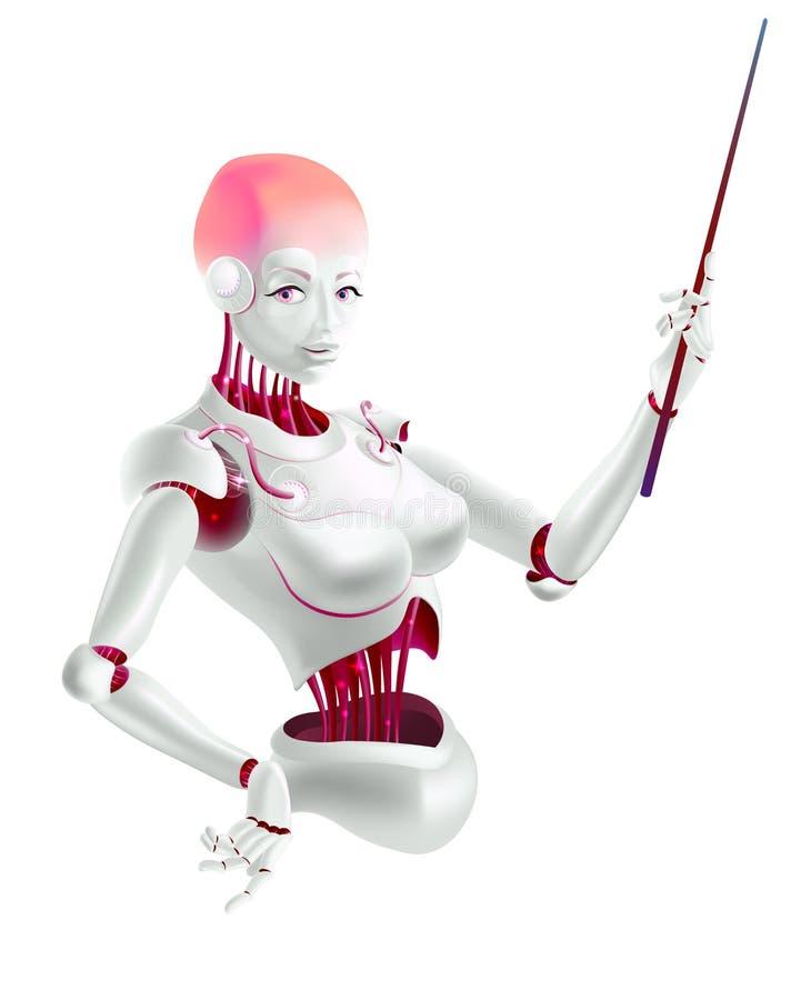 Ilustra??o de um professor do conferente ou do cyborg do rob? com um ponteiro fotos de stock royalty free