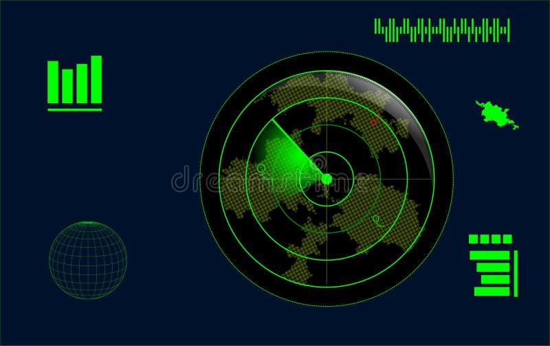 Ilustra??o de um tela de radar verde ilustração do vetor