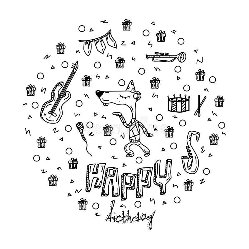 Ilustra??o desenhada m?o do vetor Rotulação do feliz aniversario e elementos gráficos para o convite e o cartão, as cópias e os c ilustração do vetor