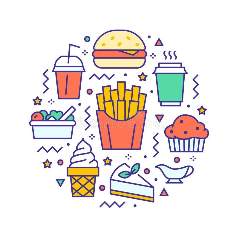 Ilustra??o do c?rculo do fast food com linha lisa ?cones Sinais finos do vetor para o cartaz do menu do restaurante - hamburguer, ilustração do vetor