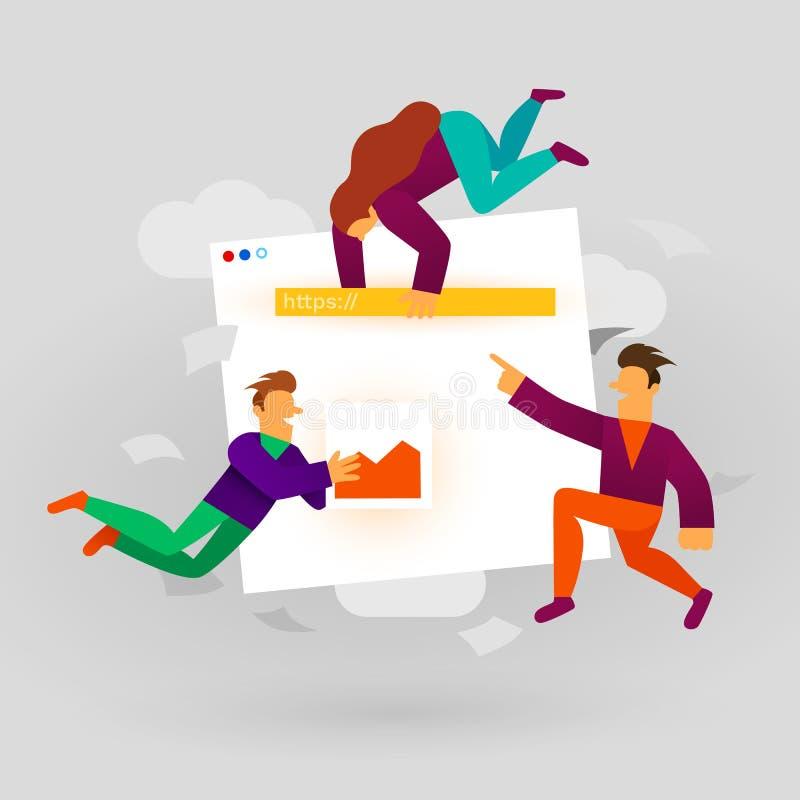 Ilustra??o do desenvolvimento de local Apps e design web da construção dos povos dos desenhos animados Conceito de projeto de UI  ilustração do vetor
