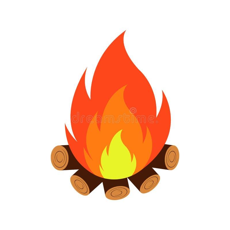 Ilustra??o do estilo dos desenhos animados do vetor da fogueira ?cone para a Web Isolado no fundo branco ilustração stock
