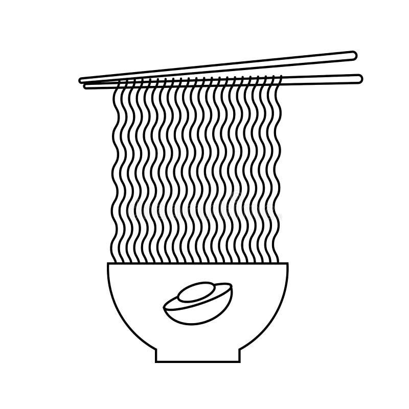 Ilustra??o do estilo do esbo?o Sopa famosa japonesa ilustração stock