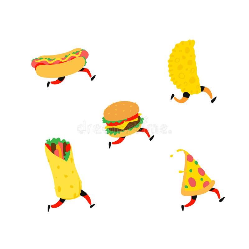 Ilustra??o do fast food Vetor Car?teres Hamburger, pizza, cachorro quente, shawarma, cheburek Artigos para o menu Alimento saboro ilustração stock