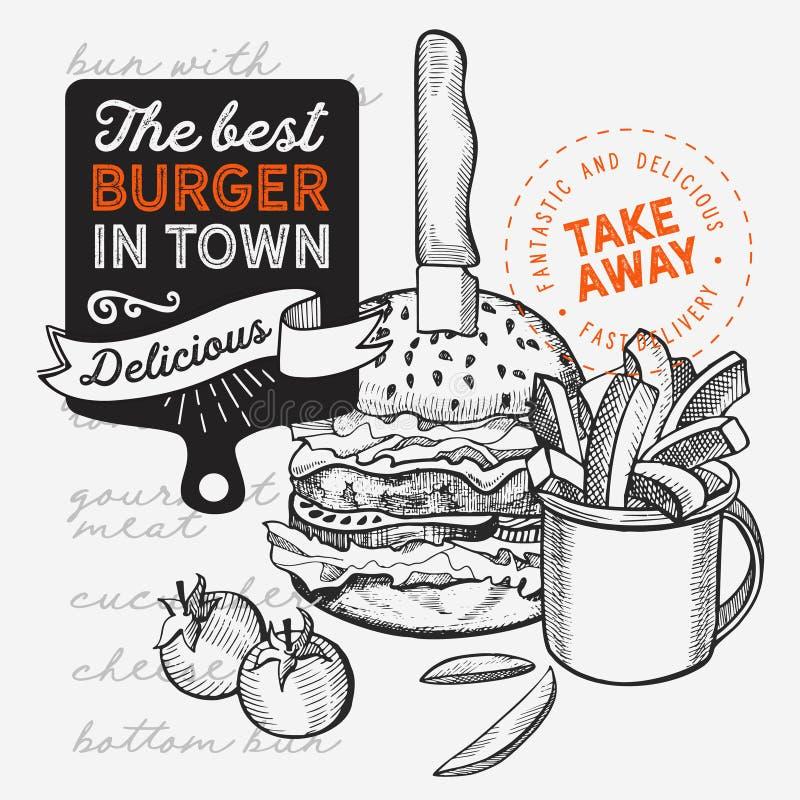 Ilustra??o do hamburguer para o restaurante do alimento e caminh?o no fundo do vintage ilustração stock
