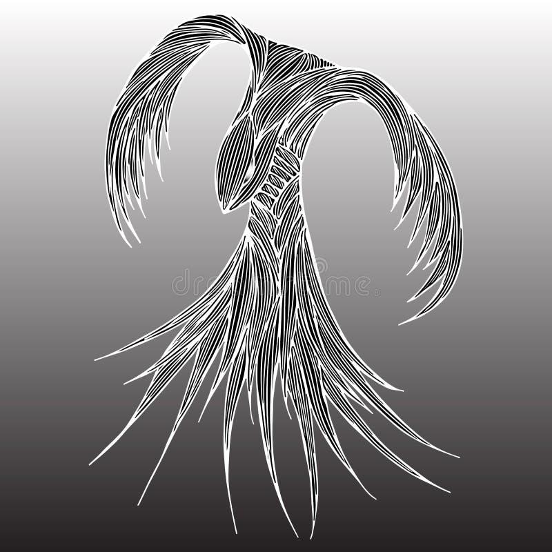 Ilustra??o do p?ssaro do fogo de Phoenix e projeto de car?ter Pássaro do fogo de Phoenix isolado no fundo cinzento Projeto animal ilustração stock