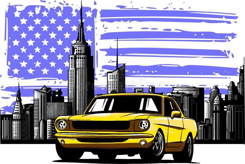 Ilustra??o do projeto gr?fico de vetor de um carro americano do m?sculo ilustração stock