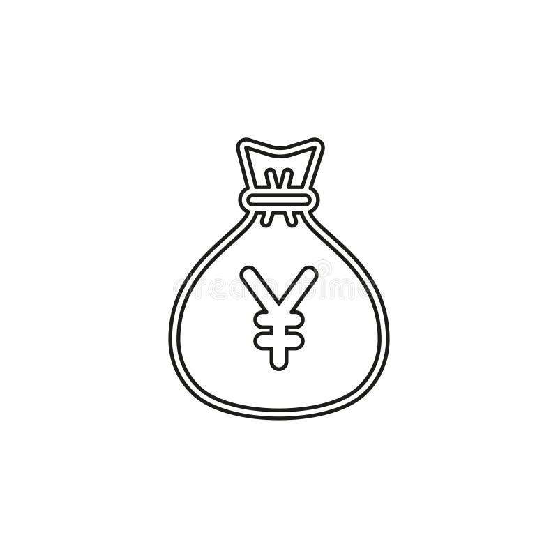 Ilustra??o do saco do dinheiro dos ienes - s?mbolo dos ienes do vetor ilustração royalty free