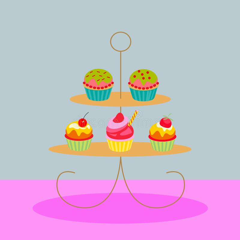 Ilustra??o do vetor ajuste dos queques no suporte do bolo isolared no fundo colorido Molde do projeto do vetor Uma sele??o de ilustração do vetor