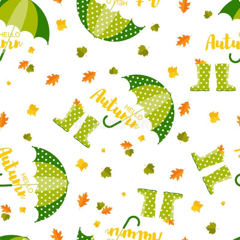Ilustra??o do vetor Botas de chuva de wellington do outono da mola e guarda-chuva, teste padrão das folhas do outono Teste padrão ilustração do vetor