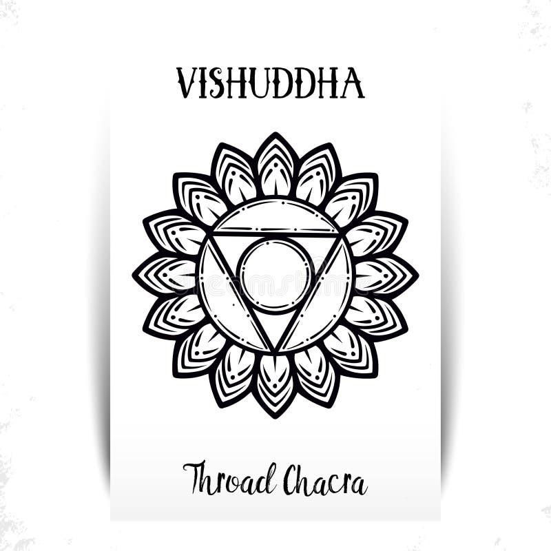 Ilustra??o do vetor com chakra Vishuddha do s?mbolo e elemento da aquarela no fundo branco Teste padrão e mão da mandala do círcu ilustração royalty free