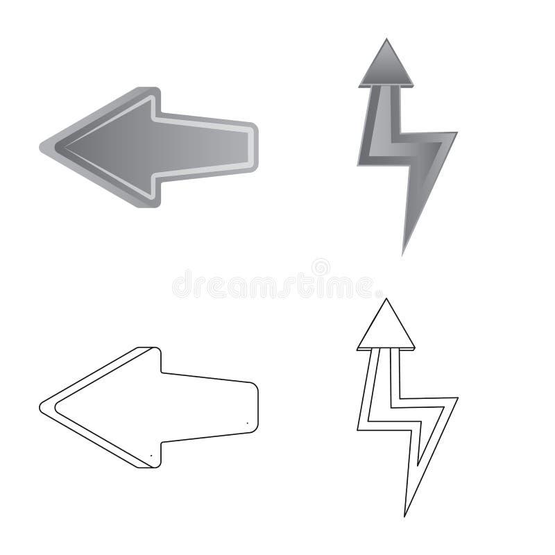 Ilustra??o do vetor do ?cone do elemento e da seta Cole??o do ?cone do vetor do elemento e de sentido para o estoque ilustração stock