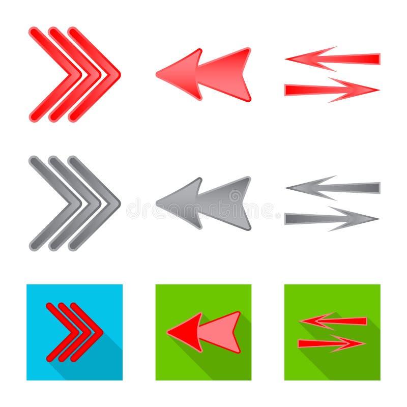 Ilustra??o do vetor do ?cone do elemento e da seta Grupo de s?mbolo de a??es do elemento e do sentido para a Web ilustração stock