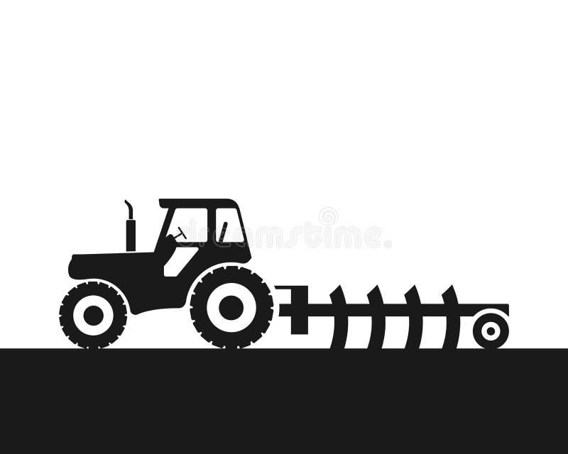 Ilustra??o do vetor do ?cone do trator de explora??o agr?cola Maquinaria agr?cola pesada para o trabalho de campo ilustração do vetor